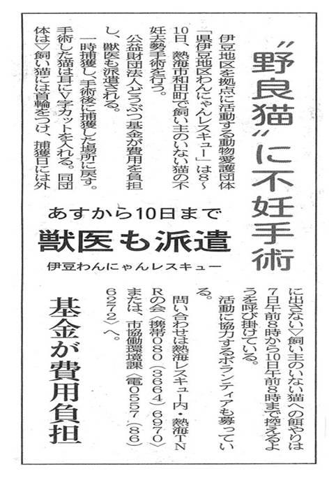 新聞記事「野良猫に不妊手術」
